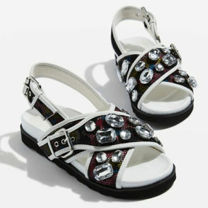 Topshop Chunky Slingback Sandals Jeweled Crossover